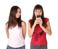 Two girls with chocolate Royalty Free Stock Images