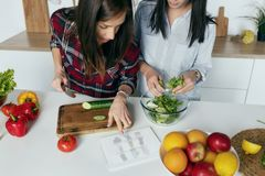 Two girls choosing summer dress home kitchen Online shopping con. Two girls choosing summer dress home in the kitchen. Online shopping concept royalty free stock images