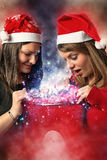 Two girls in christmas Stock Photo