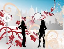 Two girls in the city Royalty Free Stock Photos