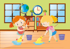 Two girls cleaning room. Illustration Stock Image