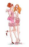 Two girls in a cocktail party laughing. Vector illustration Stock Photo