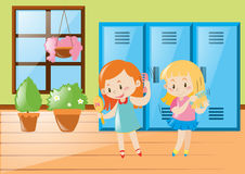 Two girls combing hair in locker room. Illustration Stock Photography