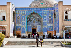 Two girls come to historical mosque in Middle East Royalty Free Stock Photography