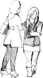 Two girls communicate. Image of two girls at a talk stock illustration