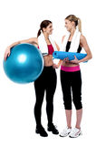 Two girls communicating after workout Royalty Free Stock Photo