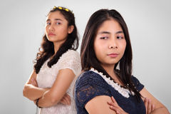 Two girls in conflict Stock Image