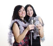 Two girls congratulates Royalty Free Stock Photography