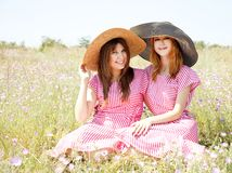 Two girls at contryside. Stock Photo
