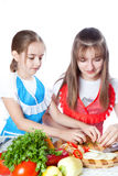 Two girls of the cook prepare a vegetarian dish Stock Photography