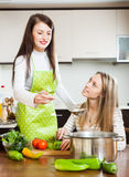 Two  girls cooking  together Stock Images