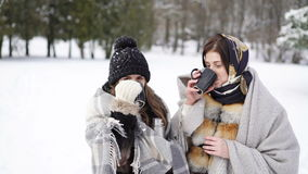 Two girls covered in warm plaid drinking hot tea in winter park 4K.  stock footage