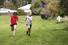 Two girls in cross country race Royalty Free Stock Photos