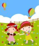 Two girls dancing. Illustration of two girls dancing stock illustration