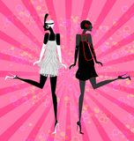 Two girls dancing. On an abstract pink background are two abstract black retro silhouettes dancing women Stock Photo