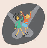 Two girls dancing. Two girls on the dance floor Royalty Free Stock Image