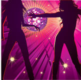 Two girls dancing in night-club, Royalty Free Stock Image