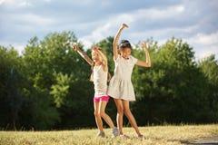Two girls dancing royalty free stock photos
