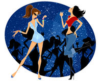 Two girls dancing. Vector illustration of two girls dancing Stock Photography
