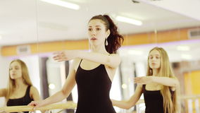 Two girls are dancing. Two young beautiful girls wearing ballet leotard are practicing ballet at a ballet barre against the mirrow indoor stock footage