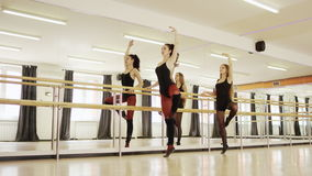 Two girls are dancing. Two young beautiful girls wearing ballet leotard are practicing ballet at a ballet barre against the mirrow indoor stock video footage