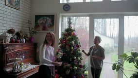Two girls decorate Christmas tree near window. Two beautiful girls decorating the Christmas tree in the home with shiny balls and toys. Two girls are talking and stock video