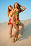 Two girls in the desert Royalty Free Stock Photography
