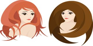 Two girls with different, creative hairstyles, vector. Girl with red curly hair and a girl with brown straight hair, vector Stock Photography