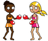 Two girls of different ethnicity boxing. Cartoon vector illustration of two girls of different ethnicity boxing Stock Photos