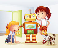 Two girls, a dog and a robot Royalty Free Stock Photography