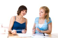 Two Girls doing Homework  Royalty Free Stock Images