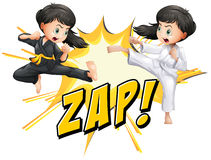 Two girls doing martial arts. Illustration Royalty Free Stock Photo