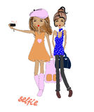 Two girls doing selfie Two girls doing selfie. Vector, illustrat Royalty Free Stock Photos