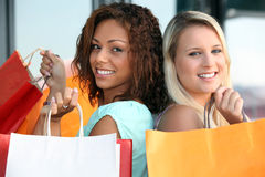 Two girls doing shopping Stock Photo