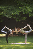 Two girls doing yoga exercises in park. Royalty Free Stock Photos