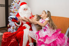 Two girls are drawn for gift that took Grandfather Frost Royalty Free Stock Photos