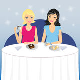 Two girls drink coffee with dessert Royalty Free Stock Photos