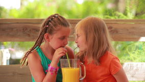 Two girls drink orange juice. Through a straw together stock video footage