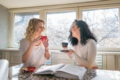 Two girls are drinking coffee and laughing in cafe royalty free stock images