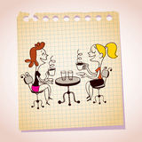 Two girls drinking coffee note paper cartoon illustration Stock Photos