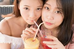 Two girls drinking juice Royalty Free Stock Image
