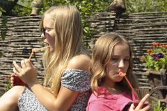 Two girls are drinking juice from a straw on the grass. Summer picnic cottage childhood glasses long hair young vacation Stock Images