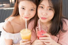 Two girls drinking juice Stock Photography
