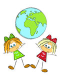 Two girls and Earth. Little girls and Earth planet - concept of  global friendship Stock Image