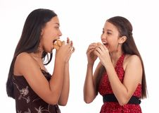 Two Girls Eating Royalty Free Stock Photography