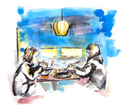 Two girls eating asian china food in chinese cafe, sketch Royalty Free Stock Image