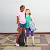 Two girls in elementary school Stock Image