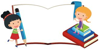 Two girls with empty book. Illustration Royalty Free Stock Image