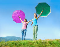 The two girls enjoyed good weather Stock Photography