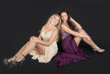 Two girls in evening dresses Royalty Free Stock Photo